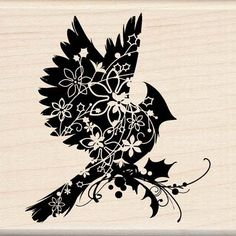 SILHOUETTE CARDINAL - Rubber Stamp. $11.50, via Etsy.
