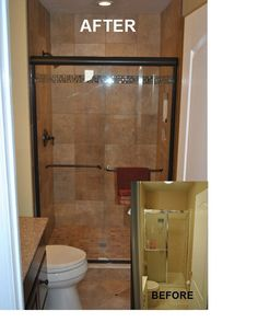 Before and after photo of small bathroom remodel