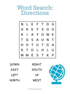 Help younger children learn directional vocabulary words with this printable word search puzzles. Puzzles are a great way to introduce vocabulary and reinforce spelling. Word Puzzles For Kids, Math Activities For Kids, Word Search Puzzles, Vocabulary Activities, Vocabulary Words, Dementia Activities, English Worksheets For Kids, Fun Worksheets, Kindergarten Worksheets