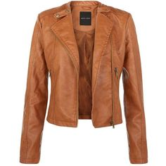 Tan Leather-Look Biker Jacket ($54) ❤ liked on Polyvore featuring outerwear, jackets, coats, moto jacket, fake leather jacket, brown faux leather jacket, vegan moto jacket and vegan motorcycle jacket