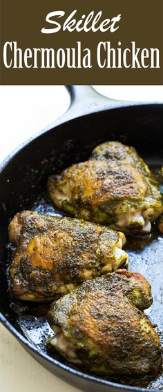 EASY 1-Pot Chicken thighs with spicy chermoula sauce, a North African parsley and cilantro pesto. #african #gluten-free #lowcarb #chickenthigh