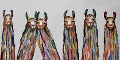 Six Lively Llamas on Grey - Canvas Giclée Print
