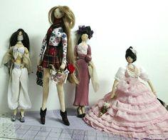 Minhas bonecas - a japonesa, a dançarina belly dance, a dama antiga e a adolescente loirinha