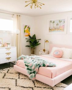"""When you can't go to Palm Springs, bring Palm Springs to your room. 🏝 Photo by: @abeautifulmess """"We are magical"""" Art Print by @aljahorvat """"Palm springs"""" Art Print by @thebestprintshop Dusty Pink Bedroom, Light Pink Bedrooms, Pastel Bedroom, Bedroom Green, White Bedroom, Gold Bedroom, Romantic Bedroom Decor, Home Decor Bedroom, Bedroom Ideas"""