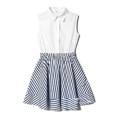 White Blue Lapel Sleeveless Striped Ruffles Dress (2.595 RUB) ❤ liked on Polyvore featuring dresses, vestidos, sheinside, short dresses, frilly dresses, flounce dress, short ruffle dress, stripe dress and blue and white striped dress