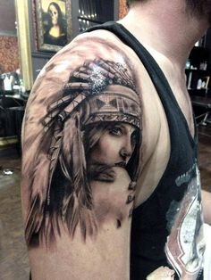 Girl in a feather headdress tattoo Indian Chief Tattoo, Indian Women Tattoo, Native Indian Tattoos, Indian Girl Tattoos, Native American Tattoos, American Indian Girl, Native American Girls, Indian Girls, American Indians