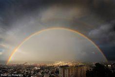 An amazing rainbow over Haifa, Israel