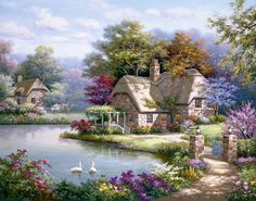 Sung Kim Swan Cottage I painting for sale, this painting is available as handmade reproduction. Shop for Sung Kim Swan Cottage I painting and frame at a discount of off. Belle Image Nature, Penny Parker, Cottage Art, Cottage Gardens, Rose Cottage, Thomas Kinkade, Ribbon Art, Silk Ribbon Embroidery, Embroidery 3d