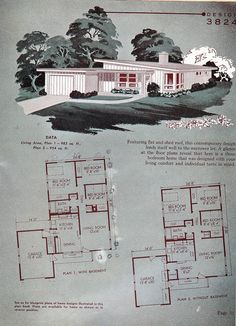 Interesting Find A Career In Architecture Ideas. Admirable Find A Career In Architecture Ideas. Vintage House Plans, Modern House Plans, Small House Plans, House Floor Plans, Vintage Homes, Cabana, Mcm House, Vintage Architecture, Shed Roof