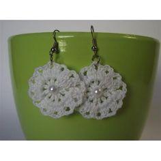 White Crocheted Earrings
