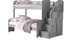 Cottage Colors Gray Twin Full Step Bunk Bed x x Find affordable Bunk Bedroom Sets for your home that will complement the rest of your furniture. Safe Bunk Beds, Bed For Girls Room, Bunk Beds For Girls Room, Adult Bunk Beds, Bunk Bed With Trundle, Bunk Beds With Stairs, Cool Bunk Beds, Kid Beds, Kids Room
