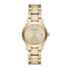 BURBERRY BU9134 THE CITY WOMEN'S SWISS CHAMPAGNE DIAL LIGHT GOLD TONE WATCH $695 #Burberry #Fashion