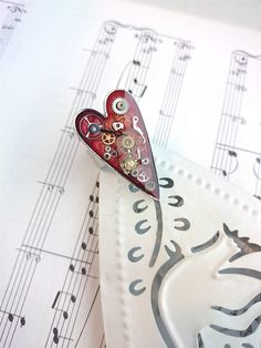 Clockwork Red Heart Ring. Valentines Gift. by OneDottyDuck on Etsy