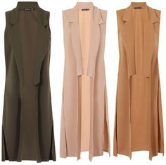 Womens Sleeveless Ankle Long Duster Coat Waistcoat Ladies Blazer BOOHOO Jacket
