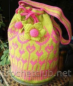 Crochet handbag TULIP - jacquard сумка тюльпан chart and others