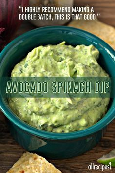 """Avocado-Spinach Dip - """"I highly recommend making a double batch, this is that good. Just the right amount of spiciness from the jalapeno and hot sauce. Healthy Diet Recipes, Healthy Snacks, Vegan Recipes, Cooking Recipes, Cooking Tips, Yummy Recipes, Healthy Nutrition, Lunch Recipes, Recipes With Avocado"""
