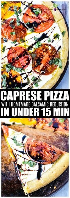 Caprese Pizza with homemade balsamic glaze Perfect Appetizer or Main Dish Pizza Recipes, Side Dish Recipes, Easy Dinner Recipes, Appetizer Recipes, Beef Recipes, Healthy Recipes, Easy Recipes, Appetizers, Caprese Pizza