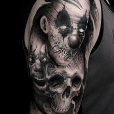 Tattoo uploaded by Daniel Martin Evil Clown Tattoos, Evil Skull Tattoo, Skull Sleeve Tattoos, Creepy Tattoos, Demon Tattoo, Skull Tattoo Design, Body Art Tattoos, Samurai Tattoo, Horror Tattoos