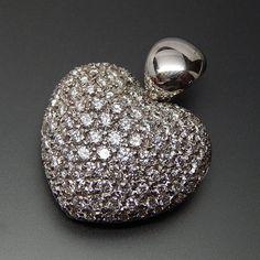 18K WHITE GOLD 4.69 CTW DIAMONDS STUDDED PUFFED HEART PENDANT