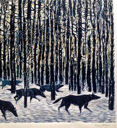 The Wild Herd - linocut