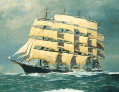 """""""Preußen"""", un genuino windjammer :: Navegar es preciso. Es un carguero alemán de acero de cinco mástiles. Único carguero a vela del mundo con cinco mástiles aparejados..."""