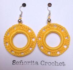 Pendientes en algodón perlé hechos a ganchillo por SenoritaCrochet