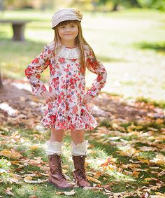 Look at this Just Couture White & Red Floral Lace Dress - Toddler & Girls on #zulily today!