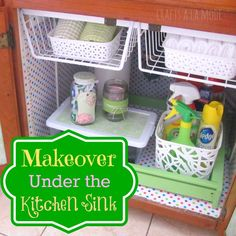 "This is a really cute makeover under the sink.  It makes you think about taking it to the next level.  My ""Under the Sink"" Makeover - Crafts a la Mode"