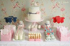 Adorable baby shower dessert table Cotton and Crumbs