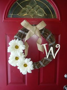 Summer D.I.Y. wreath I made to go with my red front door #diy