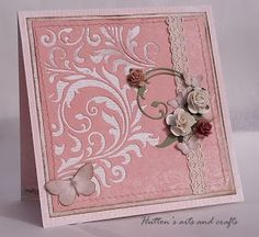 Hutton's arts and crafts Pion Design handmade card Tim Holtz Alterations Collection Mixed Media 2 die Wild Orchid Crafts mulberry paper roses