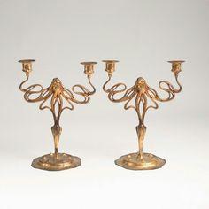 Pair of ornate Art Nouveau candelabra, circa 1900.