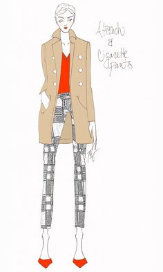 trench + printed pants