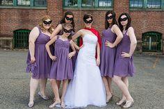 Geeky Lakeside Wedding from Kathleen Hertel Photography Superman Wedding, Comic Book Wedding, Wedding Events, Weddings, Lakeside Wedding, Bridesmaid Dresses, Wedding Dresses, Nerdy, Geek Stuff