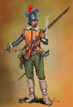 Dutch Musketeer sec. XVII by sandu61 on DeviantArt Dutch Revolt, Anglo Dutch Wars, Historical European Martial Arts, Military Art, Military History, Military Uniforms, Thirty Years' War, Early Modern Period, Modern Warfare