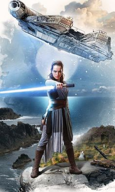 Fan art of Rey and the Millennium Falcon