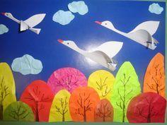 Аппликация «Птицы к югу улетают» (старшая логопедическая группа)  Фото