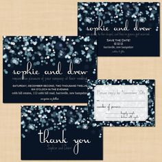 Sparkly Stars Save the Date, Wedding Invitation, RSVP, and Thank You Card $44.00