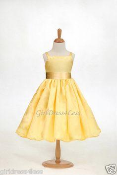 Yellow Flower Girl Dress w/ aqua sash $21.99