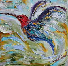 Hummingbird Archival canvas giclee print of Original palette knife oil painting by Karen Tarlton