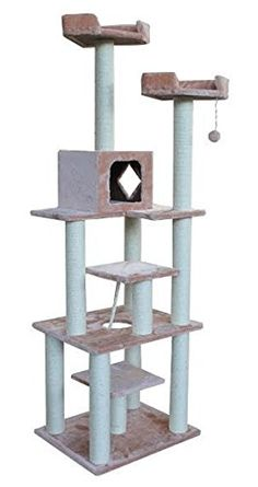 Big Cat Tree Furniture with House and Beds, Beige * Startling review available here  : Cat Tree and Tower