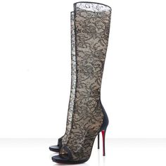 Sexy Christian Louboutin Alta Dentelle 120mm Dentelle Boots Black For Cheap Clearance Sale Amazing | Authentic Christian Louboutin Shoe Wholesale