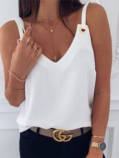 Tank Top For Women Pattu Langa Jacket White Strappy Top Peter Pan Collar Top Petite Tops And Blouses Cute Blouses, Blouses For Women, Fashion Clothes, Fashion Outfits, Womens Fashion, Emo Fashion, White Strappy Tops, Casual Dresses, Casual Outfits