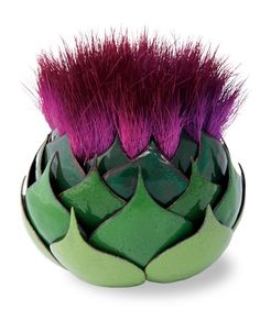Sophie Hughes  Artichoke  Copper, enamel, thistle blossom; pierced, riveted, sifted, kiln fired  featured in 500 Enameled Objects