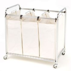 Commercial-Grade Steel Frame 3-Bag Laundry Hamper Cart