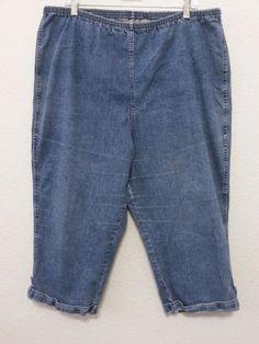 "Croft & Barrow - Women's Stretch Capri's Cuffed Blue Denim 3X with 20"" Inseam #CroftBarrow #CuffedCapris"