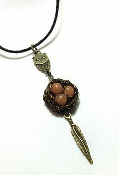 Owls Nest Pendant, Birds Nest Necklace, Red Aventurine Bird-Nest Pendant by SassyMyDesigns on Etsy