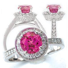 """Engagement Rings with Gemstones or ColoredDiamonds"" #Weddings #Brides #EngagementRings #PinkDiamond"