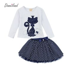 2017 Fashion Spring DOMEILAND Boutique Outfits Baby clothes Girls Sets Cute cat Print Long Sleeve Tops Bow Tutu Skirts suits - Kid Shop Global - Kids & Baby Shop Online - baby & kids clothing, toys for baby & kid Little Girl Dresses, Girls Dresses, Baby Outfits, Kids Outfits, Wedding Outfits, Toddler Outfits, Winter Outfits, Tutu Rock, Baby Girl Boutique
