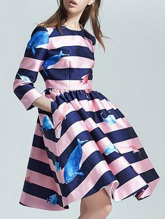 Pink Contrast Navy Length Sleeve Striped Print Pockets Dress 47.99